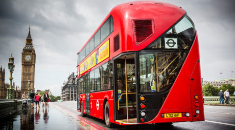 New Routemaster on Westminster bridge - photo: Wrightbus