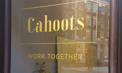 Cahoot shared working space sign on glass