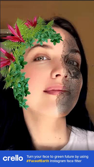 Crello eco Instagram filter applied to a woman's face