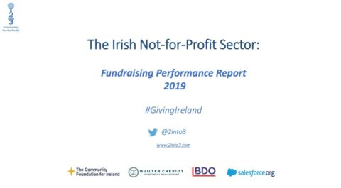 Front cover of Fundraising Performance Report 2019, with logos of sponsors at the bottom