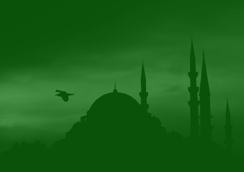 Mosque on green background