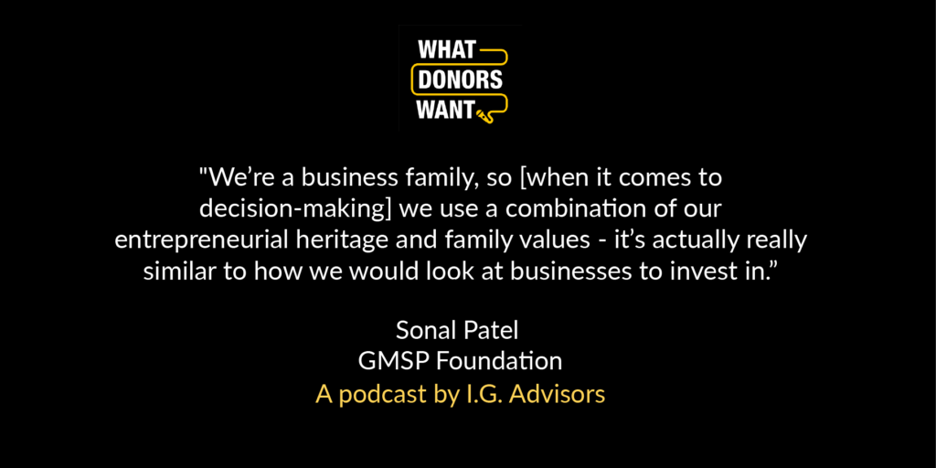 Quotation from Sonal Patel on podcast