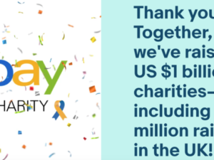 eBay for Charity hits $1 billion milestone with chance for one charity to win £5k