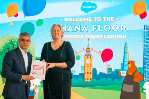 Sadiq Khan and Dame Jayne-Anne Gadhia, UKI CEO, at the opening of Ohana Floor at Salesforce Tower, London