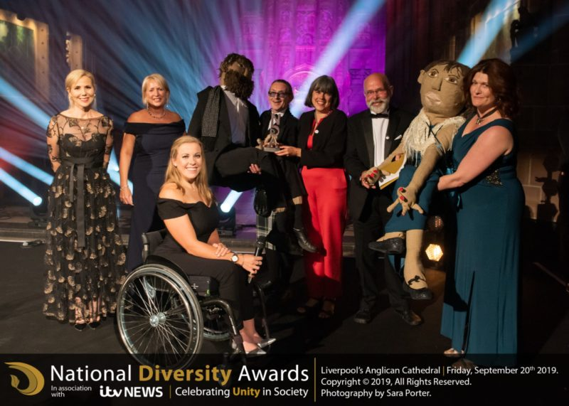 The Josephine & Jack Project team celebrate their National Diversity Award win with host Sally Phillips