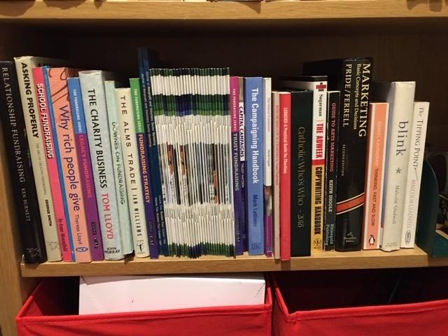 Julian Smyth's bookshelf of fundraising books