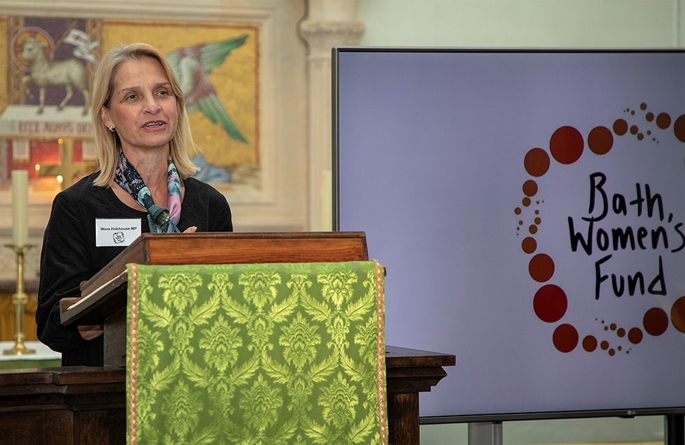 Wera Hobhouse MP speaking at the launch of Bath Women's Fund