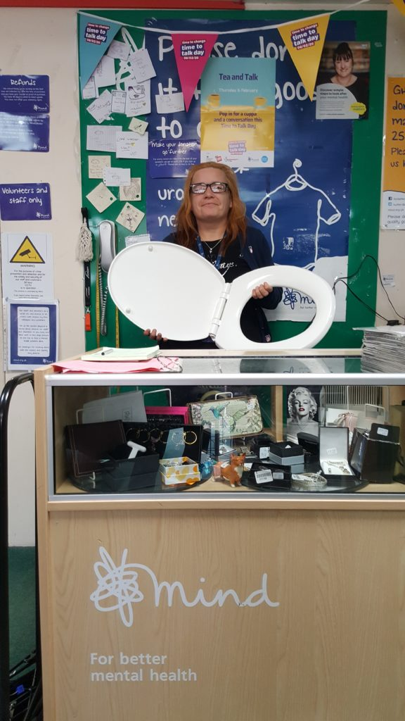 Toilet seat donated to Mind's Guisborough shop