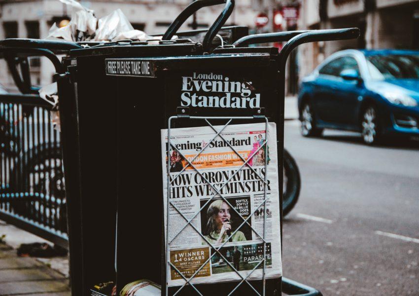 Coronovirus newspaper headline in London, 2020