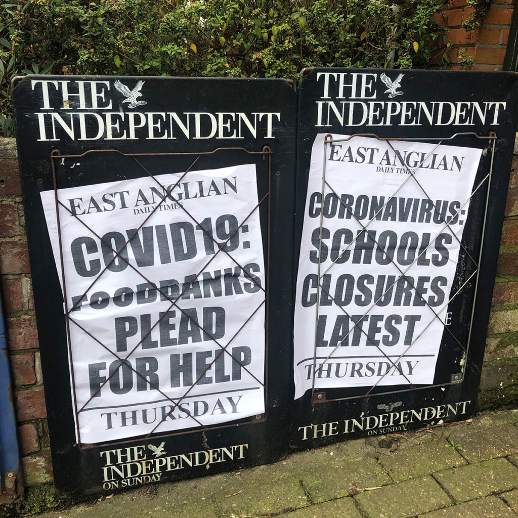 Newspaper headlines in Colchester about COVID19 affecting foodbanks and schools