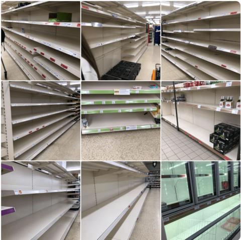 Empty shelves in UK supermarkets