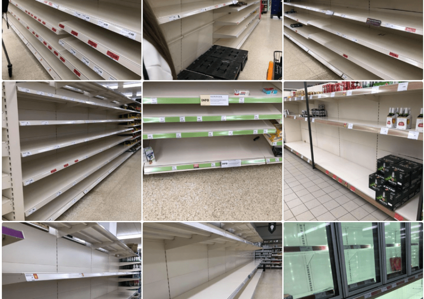 Empty shelves in UK supermarkets