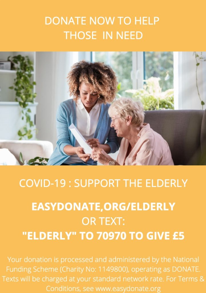 DONATE coronavirus appeal for the elderly - poster