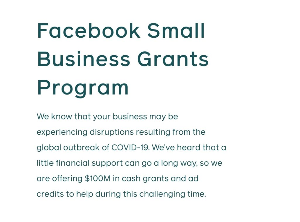 Facebook Small Business Grants Program information (text)