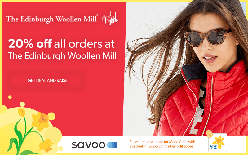 Edinburgh Woollen Mill partnership with Savoo in aid of Marie Curie