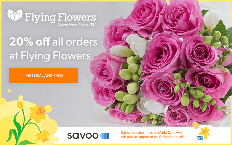 Flying Flowers partnership with Savoo and Marie Curie