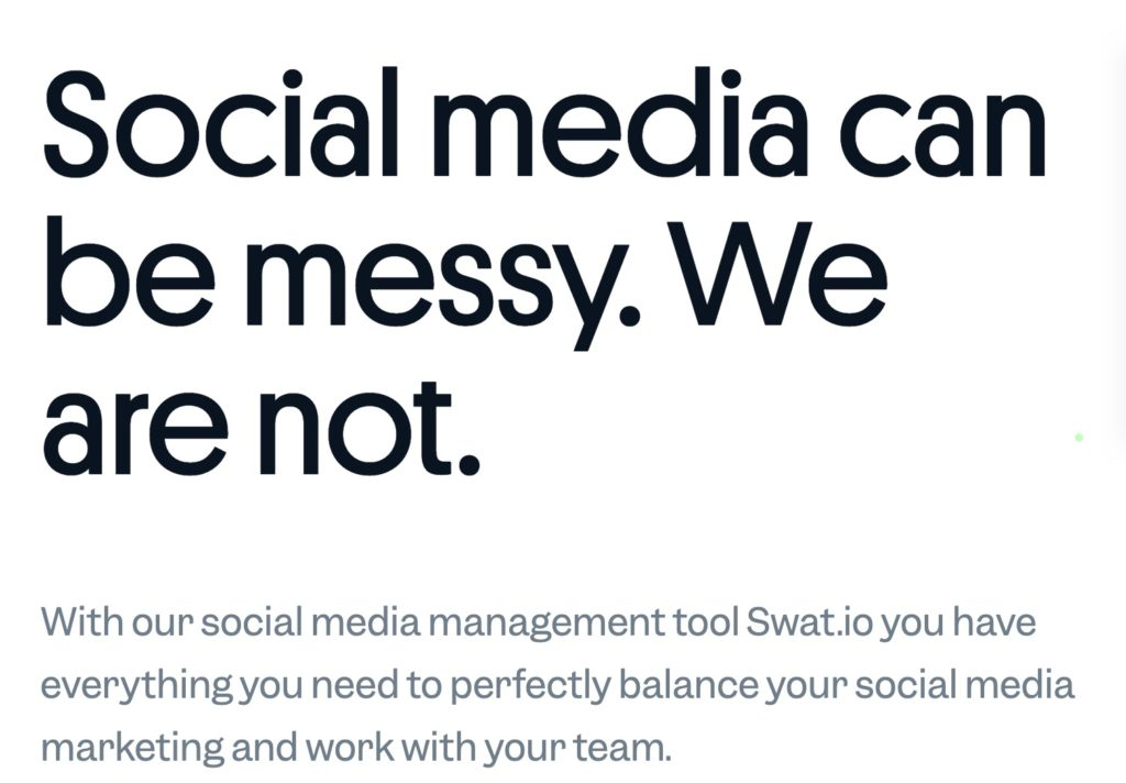 """Swatio.com's website - """"social media can be messy. We are not"""""""