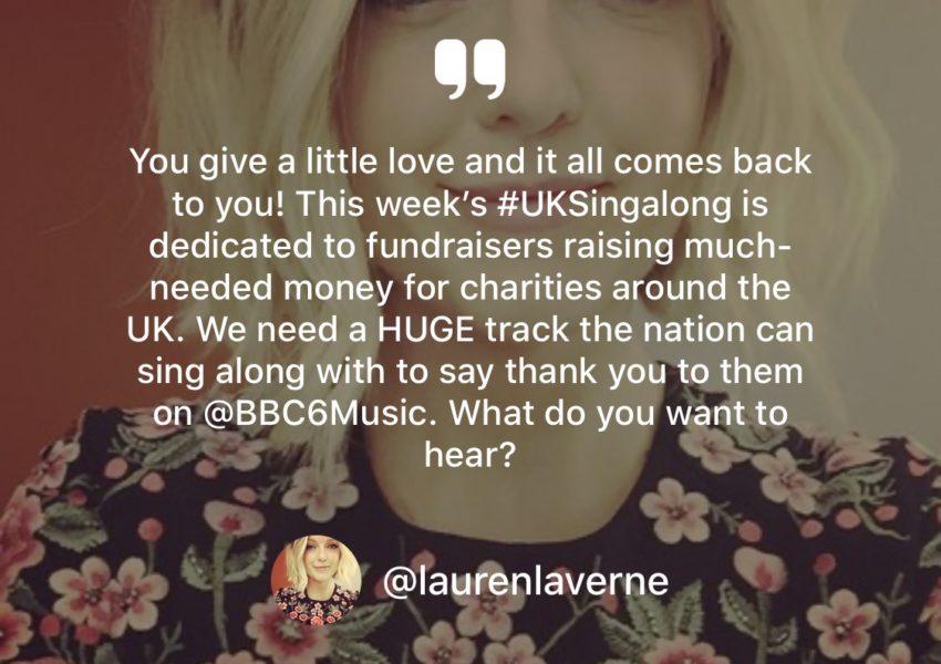 Lauren Laverne BBC Singalong post on Twitter