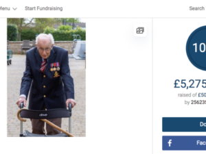 99-year-old veteran passes £5m mark with laps of his garden