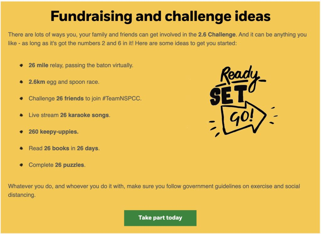 Fundraising and challenge ideas from NSPCC