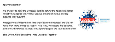 PlayersTogether supported by England Lionesses - quote