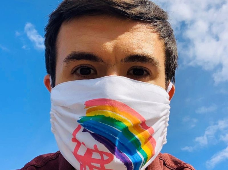 Will Bayley wearing the Rainbow Facemask he designed to raise money for GOSH Charity.
