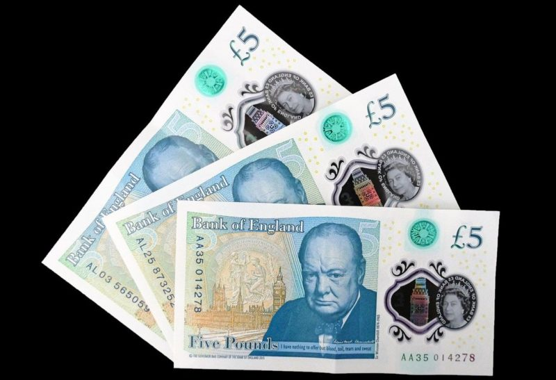 five pound money