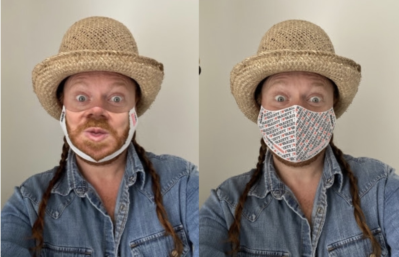 Comedian Keith Lemon sports his personalised face mask and that of Variety, the Children's Charity