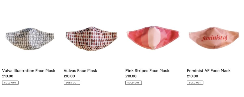 Four face masks on sale from The Vagina Museum
