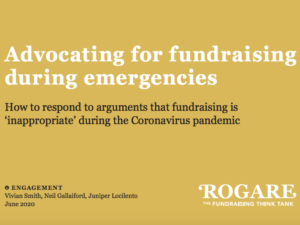 Objections to fundraising during pandemic explored in Rogare project