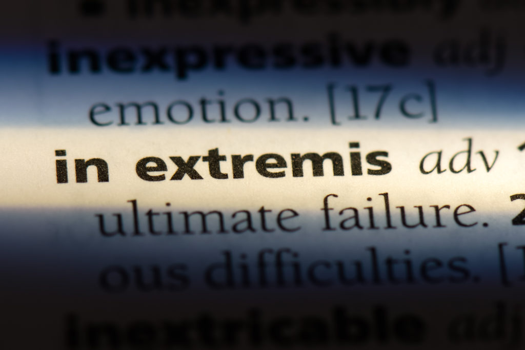 In extremis. Close-up of text entry in dictionary