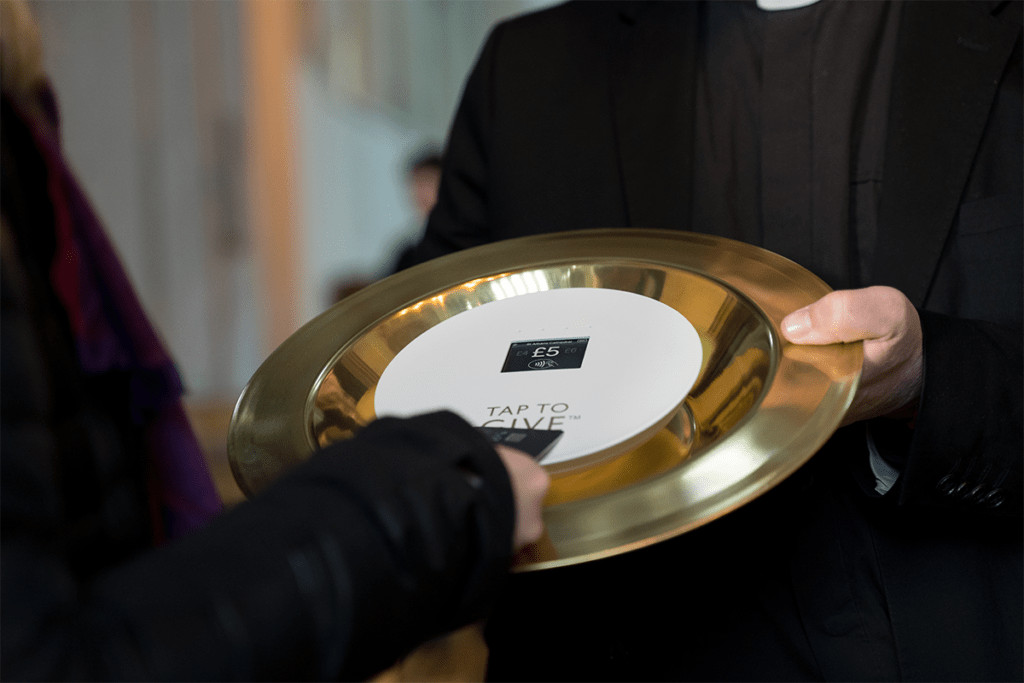 Contactless giving church collection plate