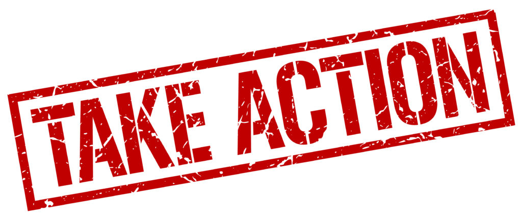 Take action - red stamp on white background