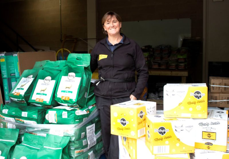 Deputy Manager Carol Margieson is pictured with donations at Dogs Trust Manchester, one of the regional collection points
