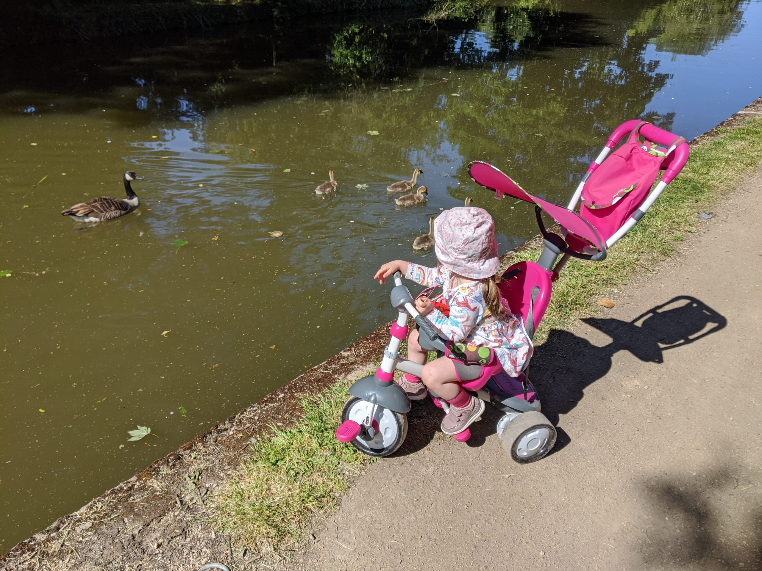 Oli Hiscoe's daughter in a pushchair beside the lake