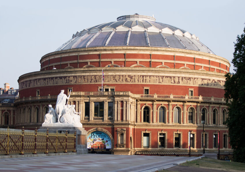 Exterior of the north entrance of the Royal Albert Hall.