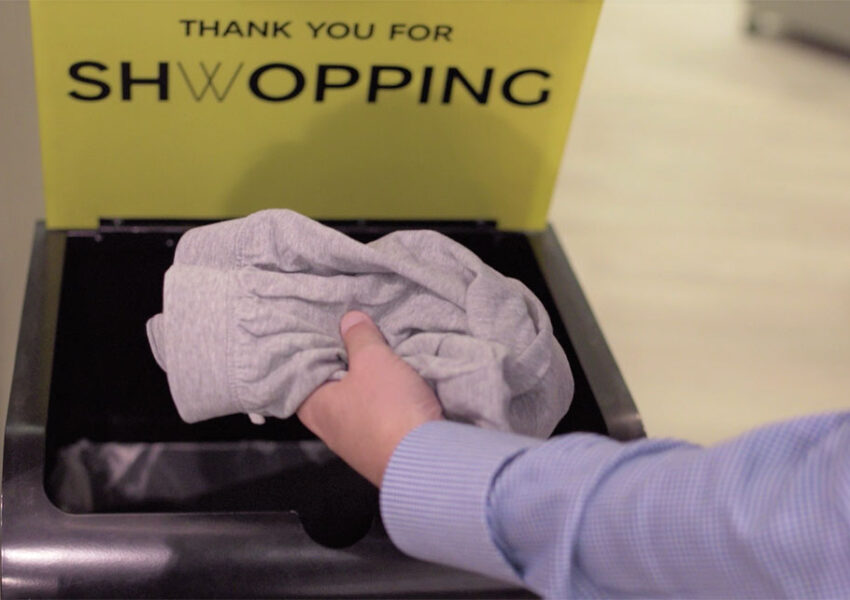 Donating clothes to Oxfam in a M&S Shwopping box