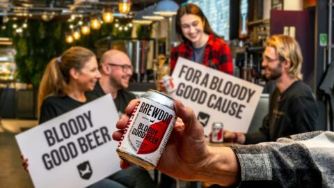 People in a pub drinking Bloody Good Beer by Brewdog