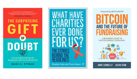 Three fundraising book covers