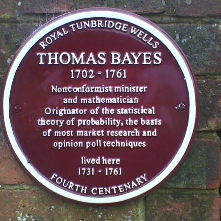 Plaque commemorating Thomas Bayes - Simn