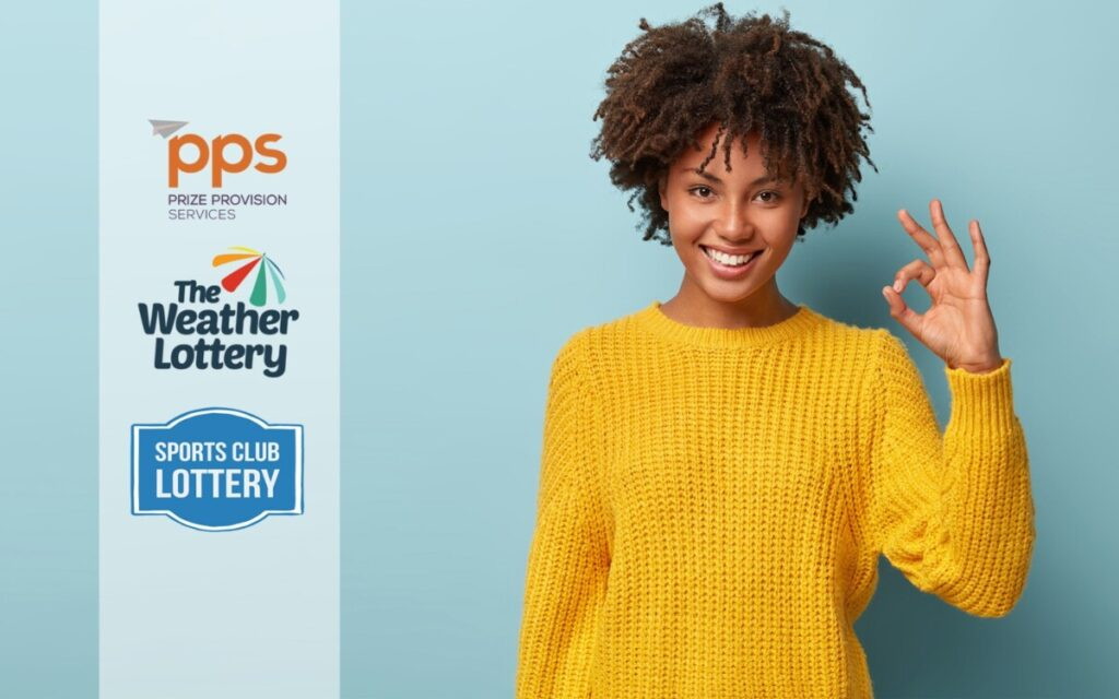 Happy woman in yellow sweater promoting the Weather Lottery