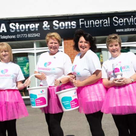 fundraisers in pink tutus for Dementia UK