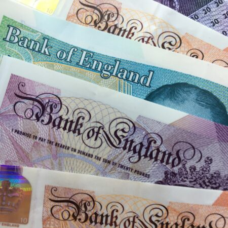 Fanned out £5, £10 & £20 notes copyright Melanie May