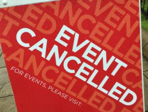Event cancelled sign (white lettering on red background) - cogdog on Flickr.com