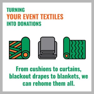 Graphic illustrating how to turn your event textiles into donations - image: Event Cycle