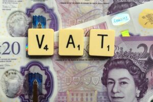 VAT in Scrabble tiles on three £20 notes. Photo: Melanie May