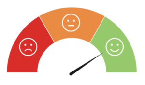 Sad, neutral, happy face icons, on a scale