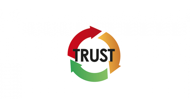 Illustration of 'trust', within three turning arrows, suggesting ongoing process