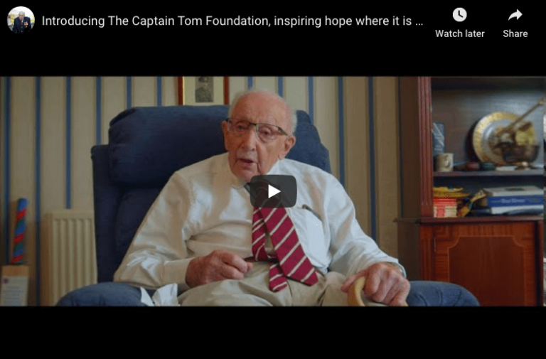 Still from video announcement from Captain Tom Moore