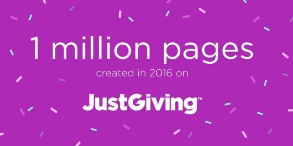1 million pages created on JustGiving milestone - illustration